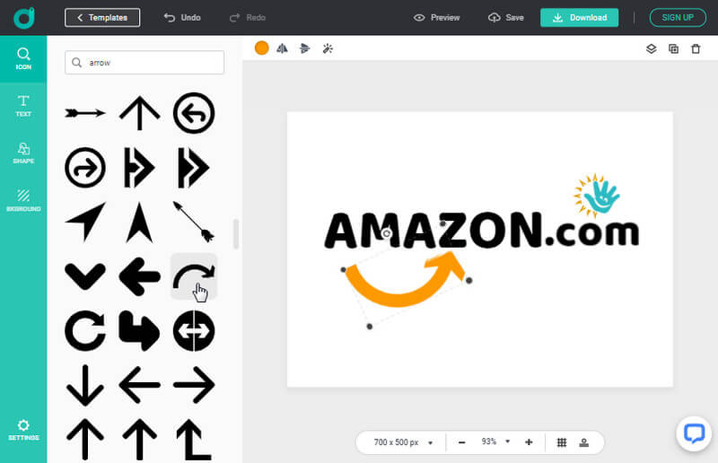How to design custom Amazon logo in DesignEvo
