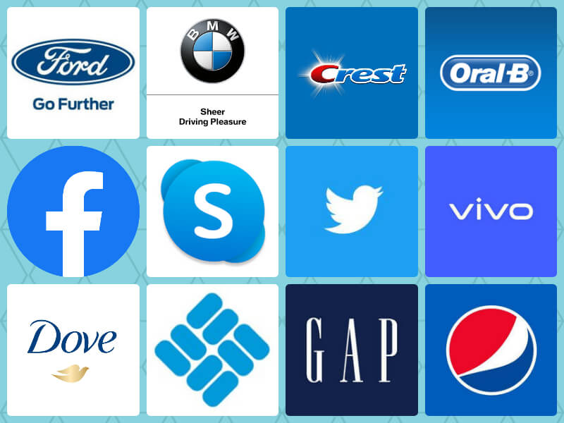 Blue logos of top brands