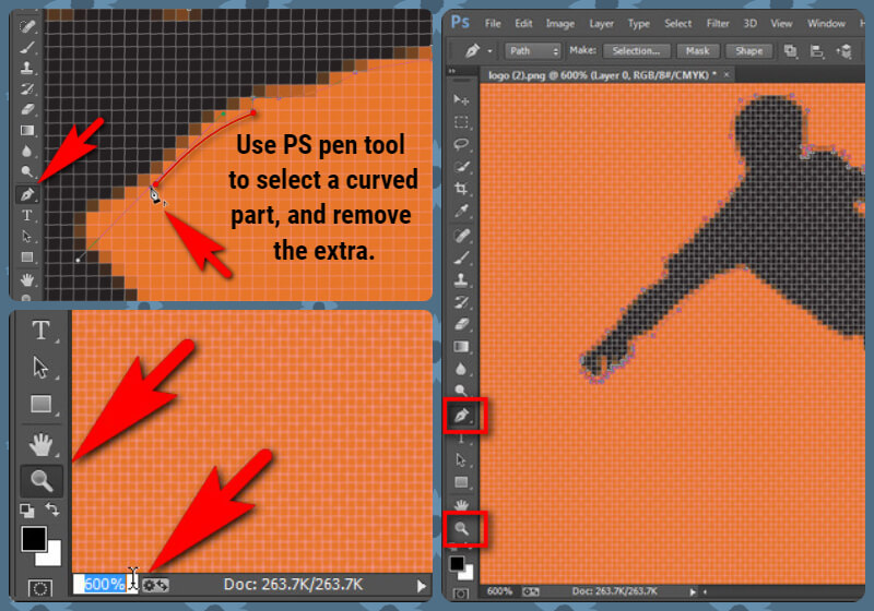 Use photoshop pen tool and zoom tool