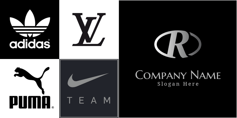 Famous logos in black color.