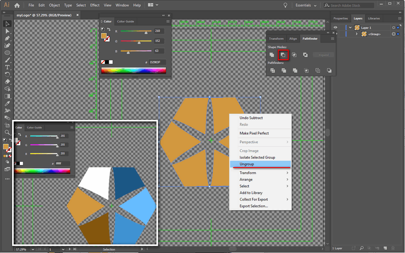 Minus front layer, ungroup, and color each shapes in AI.