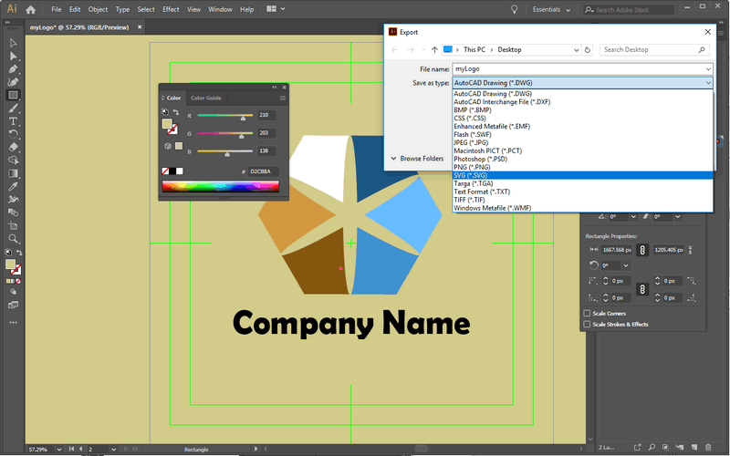 Download & output your logo design to vector and bitmap images.