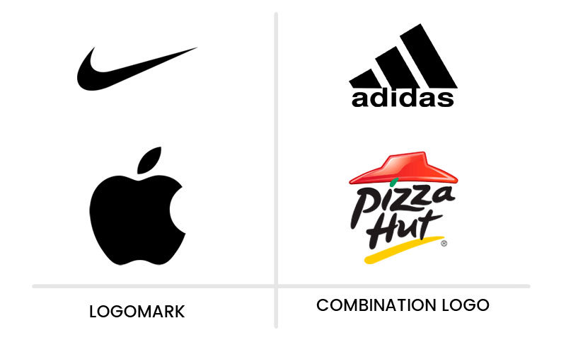 Glance at the difference between logomark(brandmark) and combination logo.