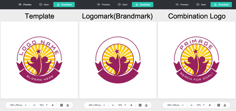 Make logomark or combination logo with DesignEvo templates
