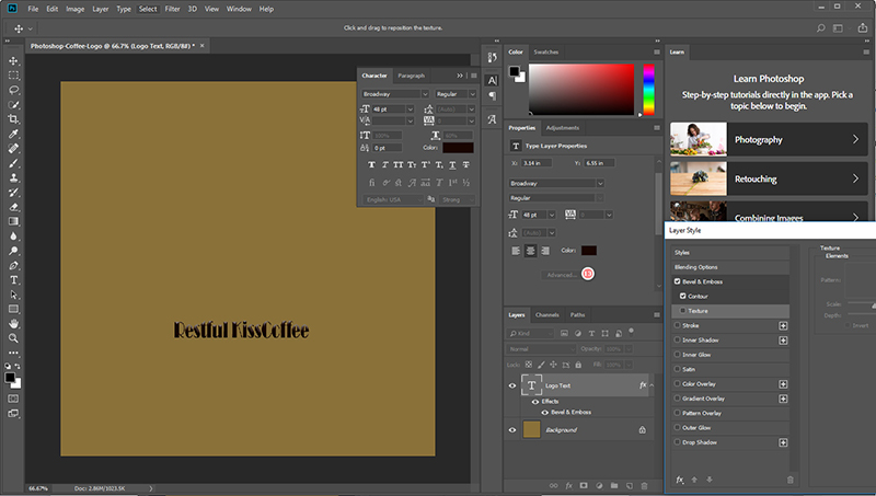 How to customize texts in PS.