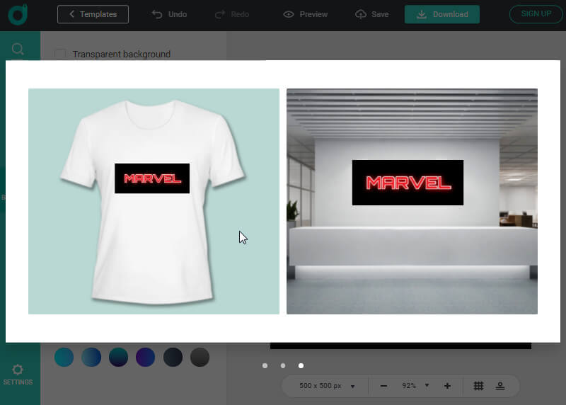 Preview how will your Marvel logo be printed on T-Shirt.