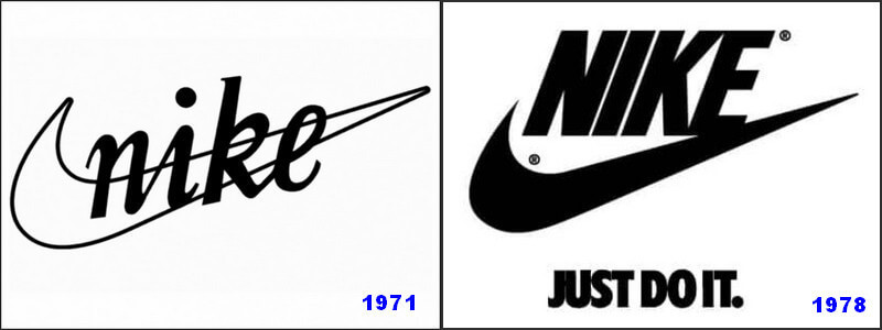 Nike changed its 1971 logo to 1978 logo