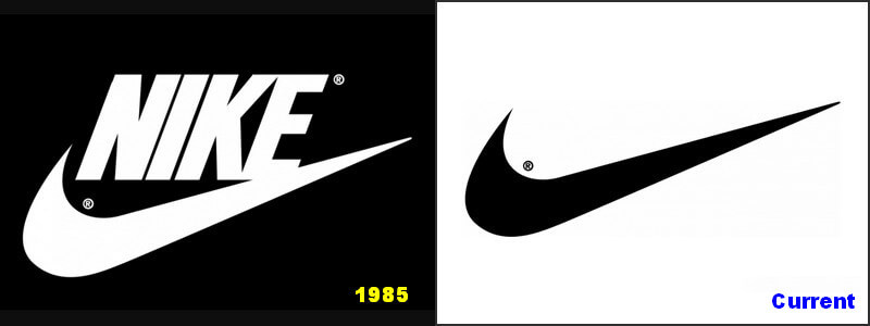 Nike logo changed from 1985 to current one