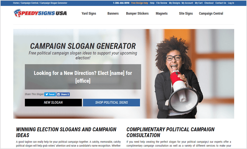 SPEEDYSIGNSUSA - Generate Free Political Slogans