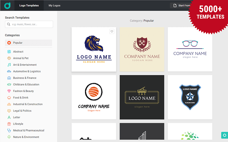 DesignEvo V2.5 empowers with 5000+ logo templates.