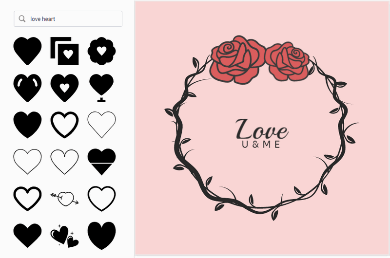Make valentine logo in DesignEvo.