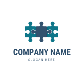 3 Piece Blue Puzzle logo design