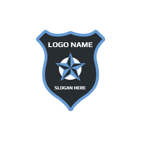 3D Blue Star and Police Shield logo design