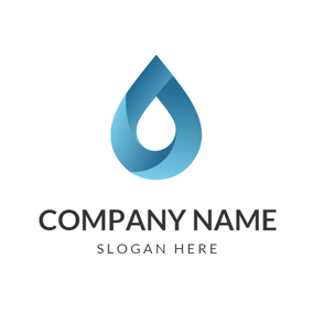 3D Blue Water Drop logo design