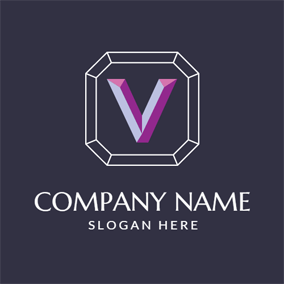 3D Purple Letter V logo design