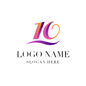 3D Purple Number Ten and Decoration logo design