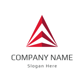 3D Red and White Triangle logo design