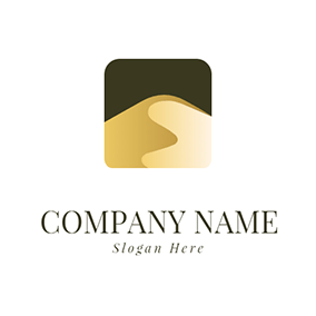 3D Sand Dune and Desert logo design