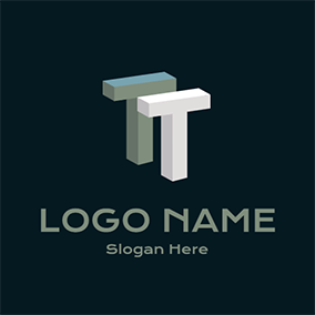 3D Simple Letter T T logo design