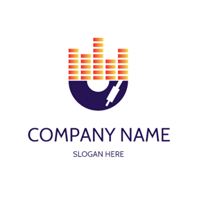 CD Melody and Rectangle Shape logo design