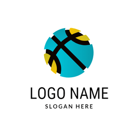 Abstract 3D Basketball Icon logo design