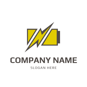 Abstract Battery and Lightning logo design
