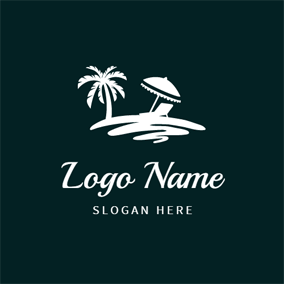 Abstract Beach and Coconut Tree logo design