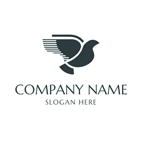 Abstract Black Flying Dove logo design