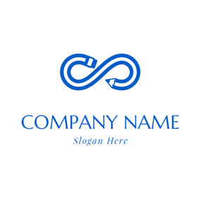 Abstract Blue and White Pencil logo design
