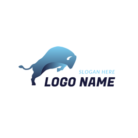 Abstract Blue Buffalo logo design