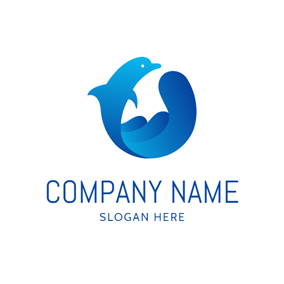 Abstract Blue Dolphin Icon logo design