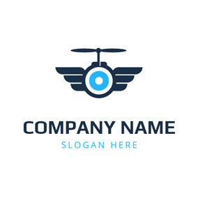 Abstract Blue Drone Icon logo design