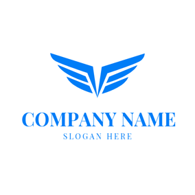 Abstract Blue Eagle Wing logo design