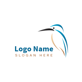 Abstract Blue Kingfisher Icon logo design