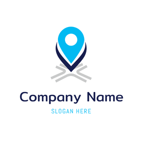 Abstract Blue Location Icon logo design