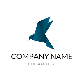 Abstract Blue Paper Pigeon logo design