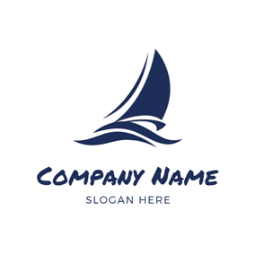 Abstract Blue Wave and Sail logo design