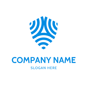 Abstract Blue Wifi Icon logo design