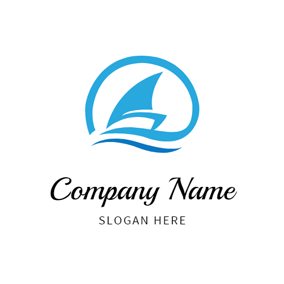 Abstract Boat and Wave logo design