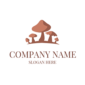 Abstract Brown Mushroom Icon logo design