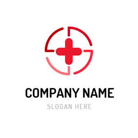 Abstract Circle and Red Cross logo design
