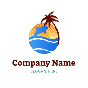 Abstract Coconut Tree and Dolphin logo design