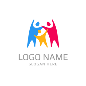 Abstract Colorful Loving Family logo design