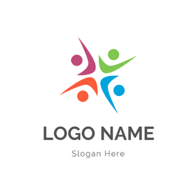 Abstract Colorful People Icon logo design