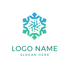 Abstract Compass and Snowflake logo design