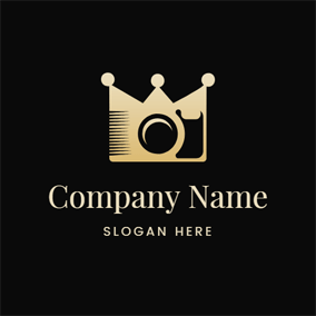 Abstract Crown and Camera Lens logo design