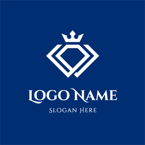 Abstract Crown and Diamond logo design