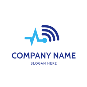 Abstract Data and Wifi logo design