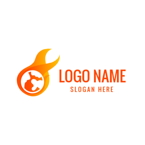 Abstract Earth and Fire logo design