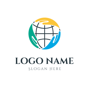 Abstract Globe and Hand logo design